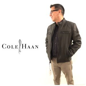 NEW Cole Haan Men's Leather Moto Jacket S. Black.